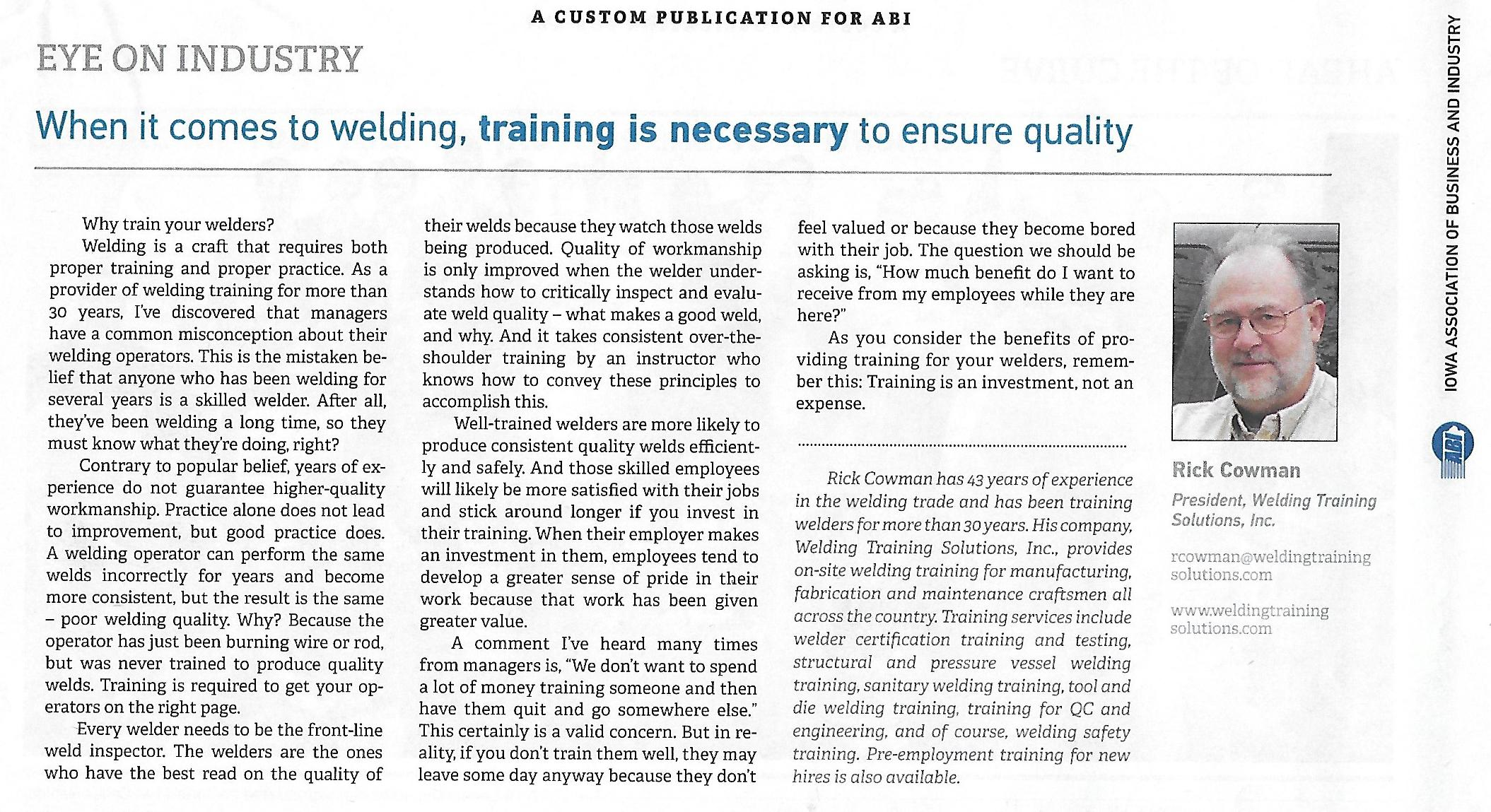 Welding Training Solutions Rick Cowman Iabi Mag 2
