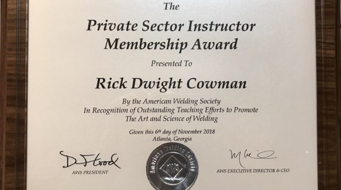Rick Cowman Receives National Award At FABTECH 2018