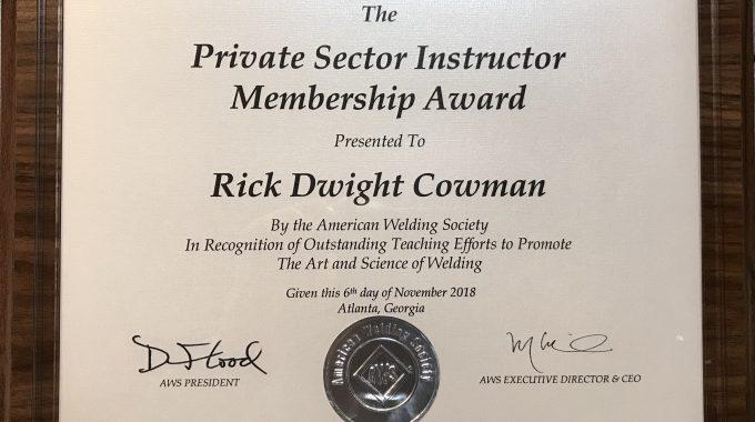 Rick Cowman American Welding Society FABTECH 2018